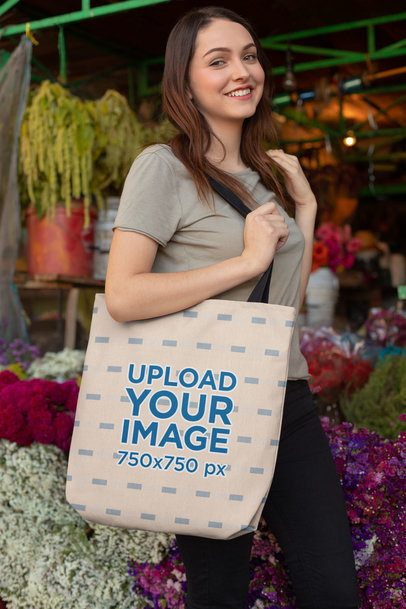 Mockup of a Girl with a Tote Bag at a Flower Shop 24869