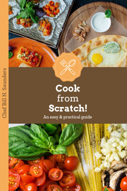 Recipe Book Cover Template with Food Backgrounds 916c