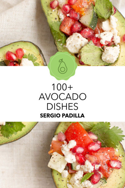 Cookbook Cover Template with Avocado Themed Clipart 916d