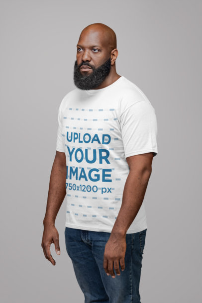 Round Neck Tee Mockup of a Man with a Big Beard 21518