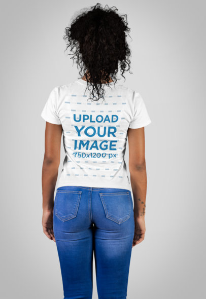 T-Shirt Mockup of a Woman Standing Backward in a Studio 21888