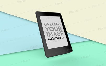 Kindle Mockup Displaying over a Split Multicolor Background 26139