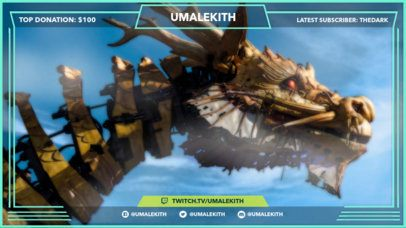 Twitch Overlay Template with Dragon Background for Twitch Gamers 1071a
