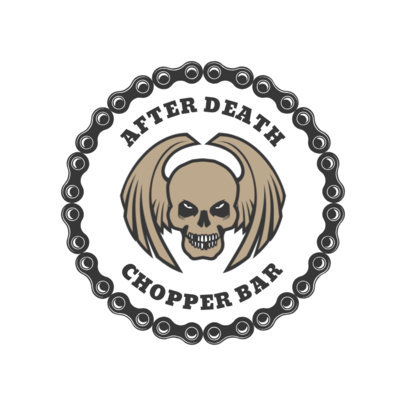 Biker Bar Logo Design Template with Creepy Skull Clipart 1763