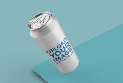 Large Can Mockup Inclining to the Left in a Bicolor Environment 26115