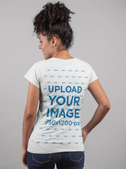 Back View Tshirt Mockup of a Happy Girl with Curly Hair 24277