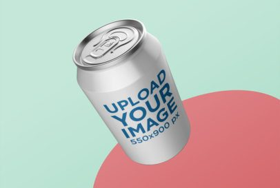 Small Can Mockup Levitating over a Colorful Background 26121