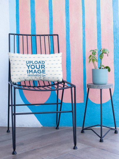 Pillow Mockup Resting over a Patio Chair  25917