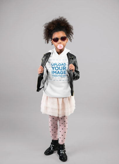 Pullover Hoodie Mockup of an Audacious Little Girl Blowing Bubble Gum 24867