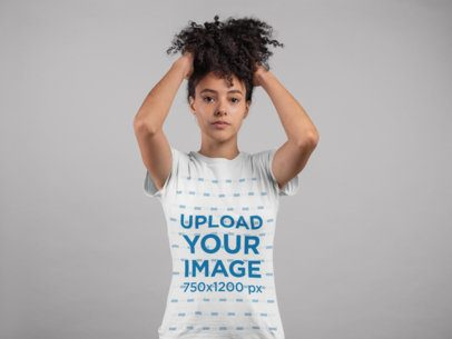T-Shirt Mockup of a Serious Girl with a Kinky Ponytail 24278