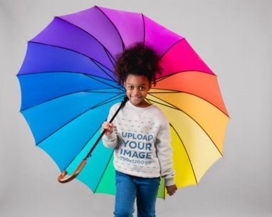 Sweatshirt Mockup of a Little Girl Holding a Rainbow Umbrella 24868