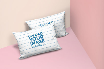 Mockup of Two Throw Pillows Lying in a Minimalist Multicolor Environment 25159