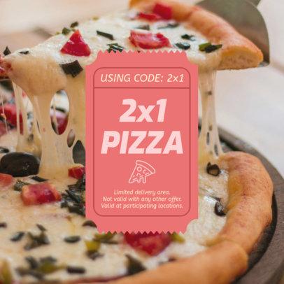 Coupon Design Template For a Pizza Restaurant Promotion 1023c