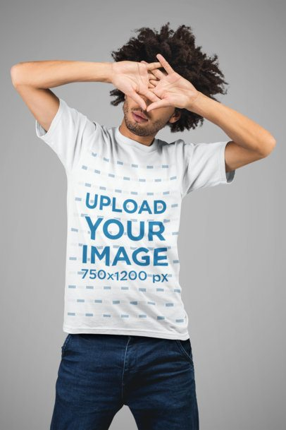 Mockup of a Hipster Man Wearing a T-Shirt in a Studio 22227