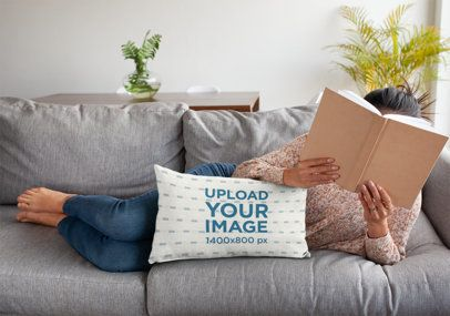 Pillow Mockup of a Woman Laying on a Sofa with a Book on Her Face 25902