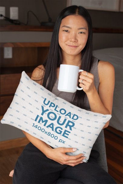 Throw Pillow Mockup of a Woman Holding a Coffee Mug 25900