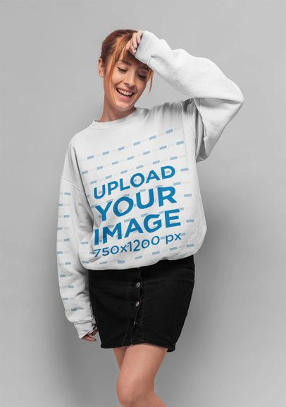 Mockup of a Red Haired Girl with Bangs Wearing a Crewneck Sweatshirt 20851