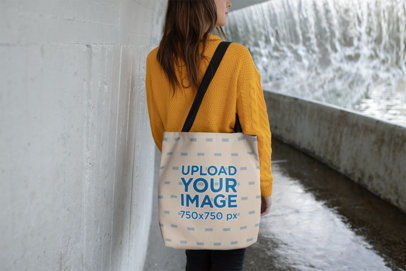 Mockup of a Woman Walking with Her Tote Bag 24886
