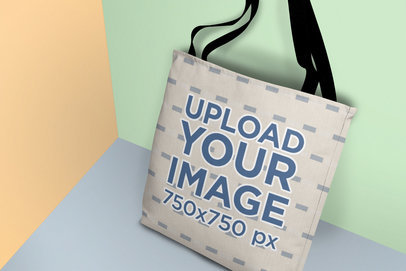 Tote Bag Mockup Featuring a Multicolor Setting 25166