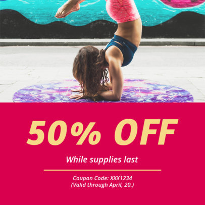 Coupon Design Maker for a Yoga Clothing Brand Promotion 1011a