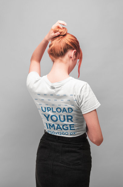 Back View Tshirt Mockup Featuring a Redhead Girl 20853