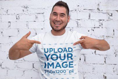 Mockup of a Happy Customer Pointing at His T-Shirt 26226