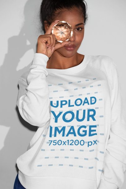 Sweatshirt Mockup of a Girl Looking Through a Stone 21912