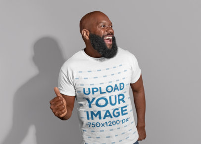 T-Shirt Mockup of a Man with a Big Beard Dancing 21530