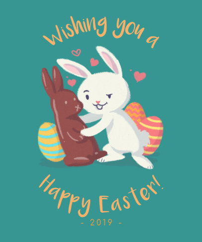 Cute Easter Tee Design with Easter Bunny Graphics 1039f