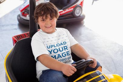 Plus Size T-Shirt Mockup of a Smiling Kid on a Bumper Car 25549