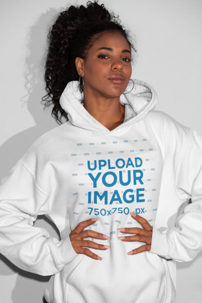 Pullover Hoodie Mockup Featuring a Girl Holding Her Waist 21919