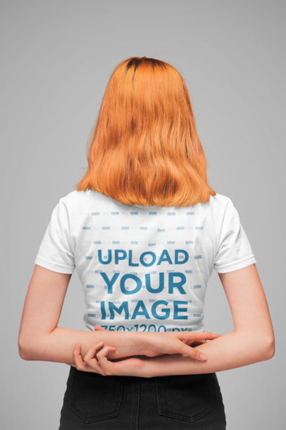 Tee Mockup of a Girl Facing Backwards with Her Arms Crossed Behind Her Back 20845