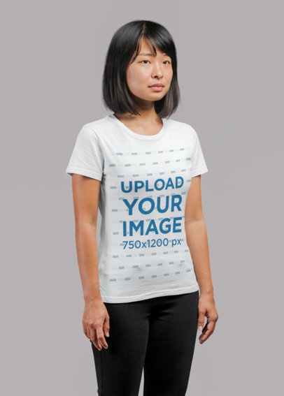 Round-Neck Tee Mockup Featuring a Short-Haired Woman in a Studio 21723