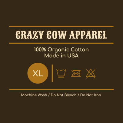 T-Shirt Label Design with a Western Style 1141a