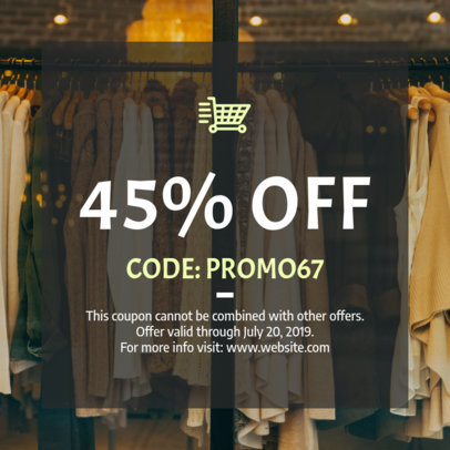 Discount Coupon Template for a Clothing Brand 1015b-1819