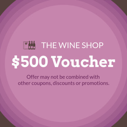 Coupon Design Template for a Wine Store Gift Voucher 1034b