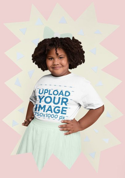 Plus Size T-Shirt Mockup of a Girl with Afro Hair Surrounded By Cut out Paper Figures 25571