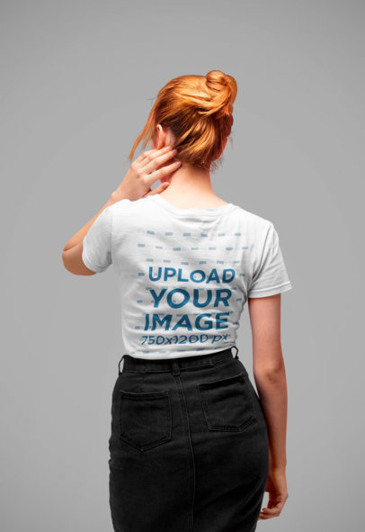 Back Tee Mockup Featuring a Red-Hair Woman in a Studio 20879