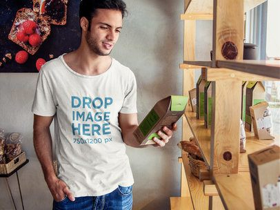 T-shirt Mockup Featuring a Young Man at an Organic Market 6504a