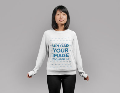 Sweatshirt Mockup of a Cute Girl with Bob Haircut Standing in a Studio 21780