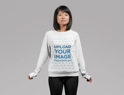 Sweatshirt Mockup of a Cute Girl with Bob Haircut Standing in a Studio 21780