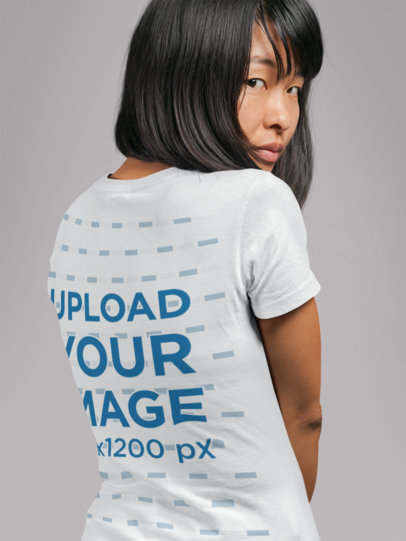 Back Tee Mockup of a Short-Haired Woman Looking over Her Shoulder 21731
