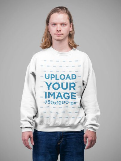 Crewneck Sweatshirt Mockup Featuring a Man with Long Hair Standing in a Studio 23087