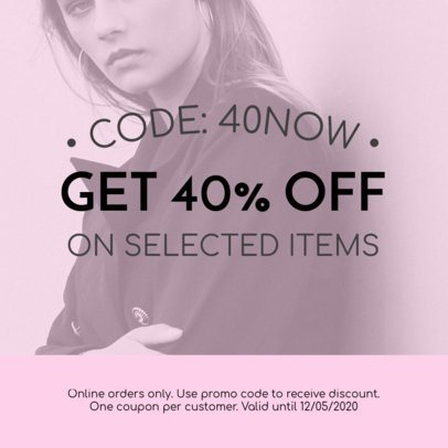 Coupon Design Template with a Promo Code 1022b