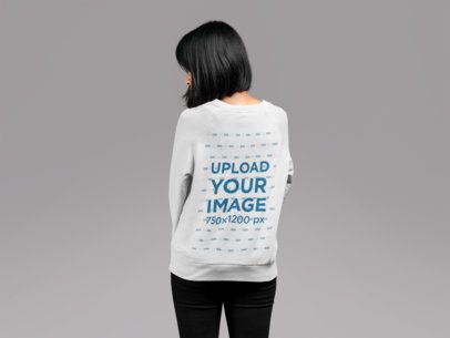 Back Crewneck Sweatshirt Mockup of a Woman with Bob Haircut Looking over Her Shoulder 21787