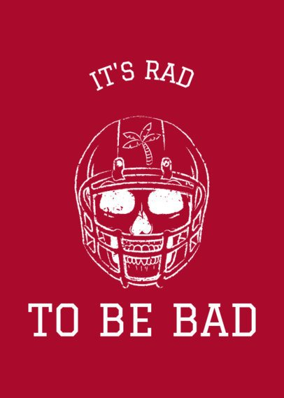 Football T-Shirt Design Template with a Skull Clipart a63f