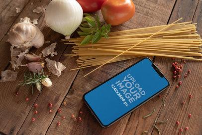 iPhone XS Max Mockup Featuring Italian Ingredients 25389