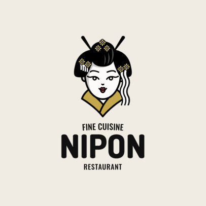 Japanese Food Logo Maker with a Geisha Cartoon 1819a