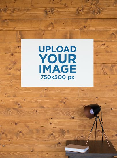 Horizontal Canvas Print Mockup Against a Wooden Wall 25864