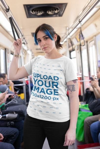 Plus Size Tee Mockup of an Edgy Girl Standing in a Crowded Train Wagon 25469